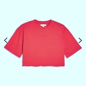 Topshop Red Cropped T-Shirt